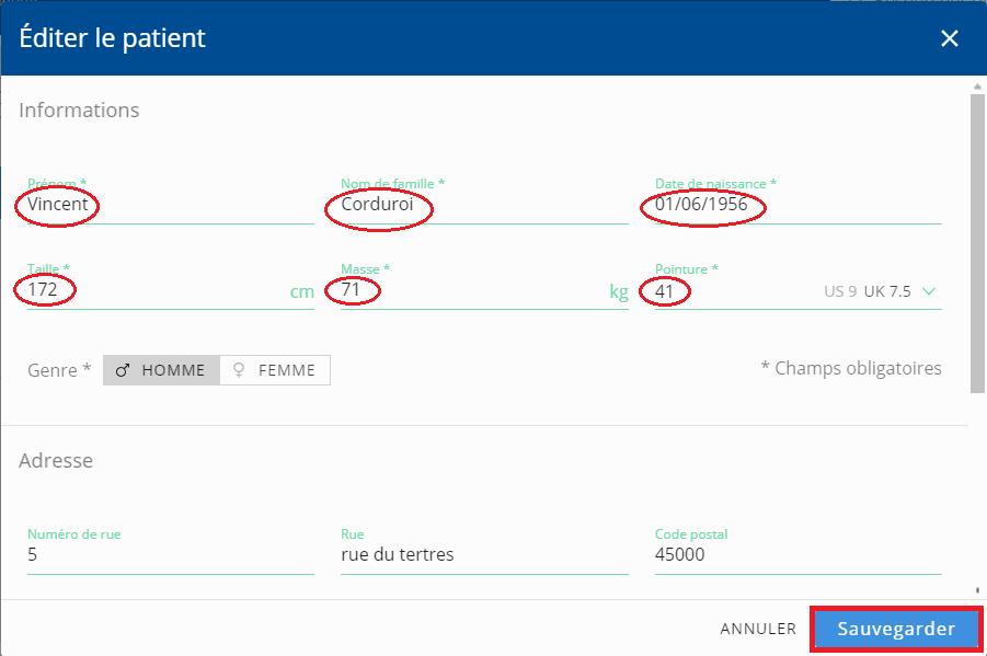 Fenêtre d'édition d'un patient utilisant Podosmart