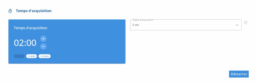 Fenêtre de réglage du temps d'acquisition de la Podostation
